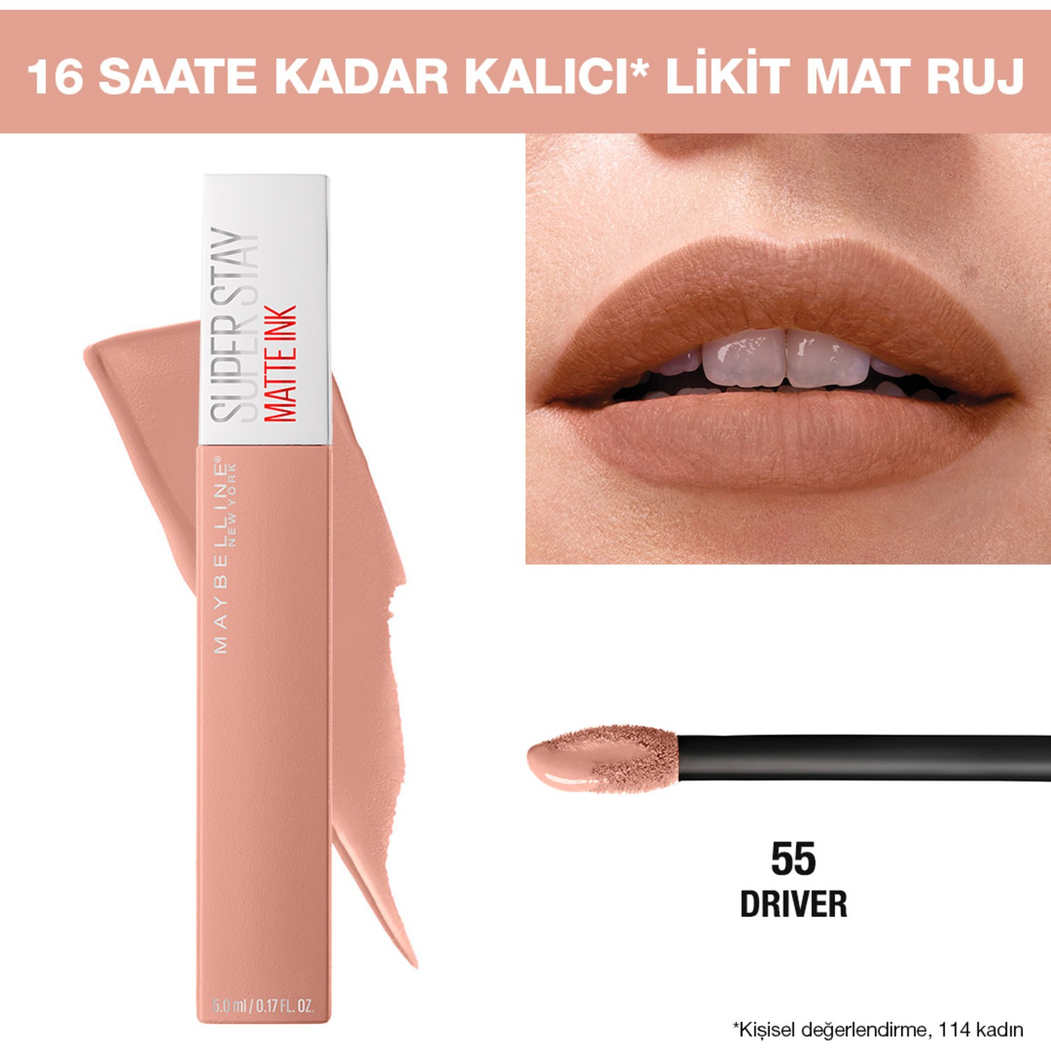 55 York - Driver Ink Stay Likit Matte Maybelline New Nude Ruj Mat Super