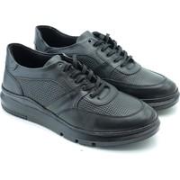 Man W666-03 Deri Yüksek Taban Erkek Casual Ayakkabı Siyah 44
