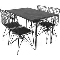 Wood House Pera Metal Sandalye ve Metal Ayaklı Masa Takımı Mermer Desenli
