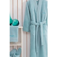 Marie Claire Tek Kişilik 3 Parça Bornoz Set-Jaına L Beden Aqua 100% Micro Cotton