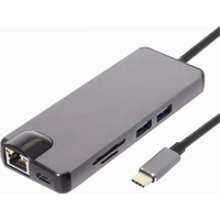 Orite Multifunction 8 in 1 Type-C™ to 4K Ultra HD HDMI Type-C Sd Kart 2*USB 3.0 Gigabit Ethernet VGA Macbook Uyumlu Çevirici Adaptör