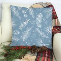 Henge Mavi Noel Kar Taneleri Çam Kozalakları ve Dalları Yastık Kırlent Kılıfı