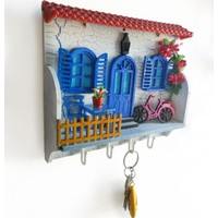 CajuArt Dekoratif Alaçatı Evi Anahtar Askısı Ev Duvar Süsü Anahtarlık