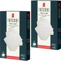 Tréscol Kahve Filtresi 2 Numara Küçük Boy Beyaz Kağıt 2 X 40'lı 80'li Paket