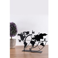 Muyika Metal Masa Üstü Biblo Dünya Haritası 18 x 26 cm