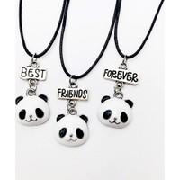 AlpCollection Sevimli Panda Best Friend Bff 3lü Suni Deri Ipli Kolye