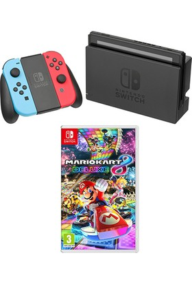 Nintendo Switch Konsol Neon Red Blue + Mario Kart 8 Deluxe Nintendo Switch Oyun