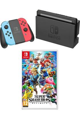 Nintendo Switch Konsol Neon Red Blue + Super Smash Bros Ultımate Switch Oyun
