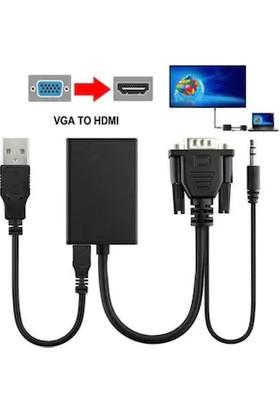 Hadron VGA To HDMI Çevirici + Ses