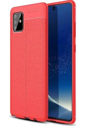 Tbkcase Samsung Galaxy A91 Kılıf Deri Dokulu Silikon Kırmızı + Tam Kapatan Ekran Koruyucu
