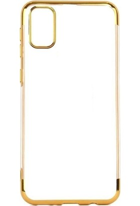 Tbkcase Samsung Galaxy A91 Kılıf Lüks Lazer Silikon Gold
