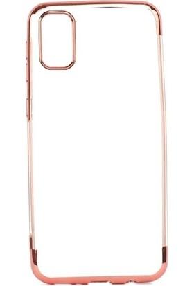 Tbkcase Samsung Galaxy A91 Kılıf Lüks Lazer Silikon Rose Gold