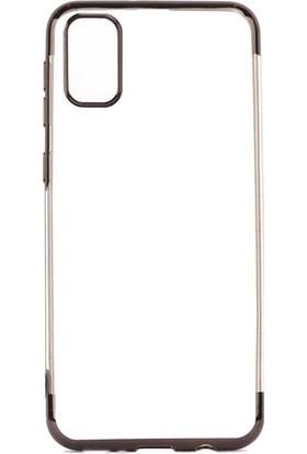 Tbkcase Samsung Galaxy A91 Kılıf Lüks Lazer Silikon Siyah + Nano Ekran Koruyucu