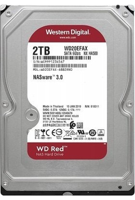 """WD Red 2TB 3.5"""" Sata 3 5400RPM 256MB Cache Nas Disk WD20EFAX"""