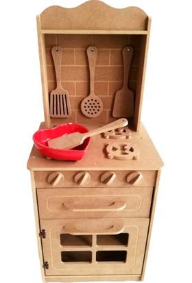 Montesev Çocuk Oyuncak Evi Mutfak Tezgahı Fırın Dolap Ahşap Montessori - Büyük Boy