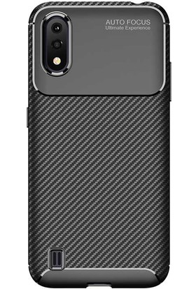 Teleplus Samsung Galaxy A01 Negro Karbon Silikon Kılıf Siyah + Nano Ekran Koruyucu