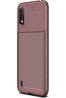 Teleplus Samsung Galaxy A01 Negro Karbon Silikon Kılıf Kahverengi + Tam Kapatan Ekran Koruyucu