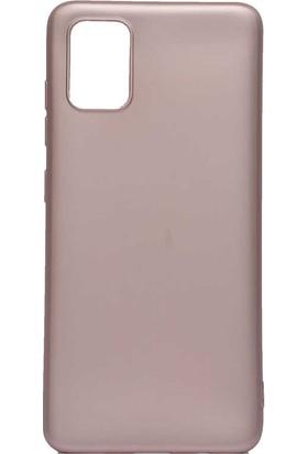 Fujimax Samsung Galaxy A01 Premier Silinebilir Soft Silikon Kılıf + Fiber Tam Kapatan 9H Nano Ekran Koruycu - Rose Gold