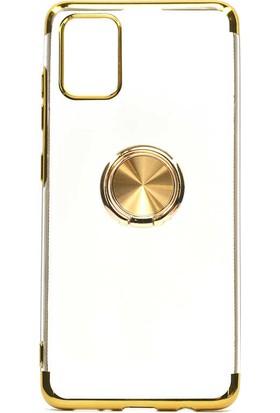 Fujimax Samsung Galaxy A01 Gess Yüzüklü Lazer Silikon Kılıf + 9H 330 Derece Bükülür Nano Ekran Koruyucu - Gold
