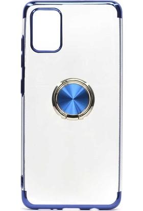 Fujimax Samsung Galaxy A01 Gess Yüzüklü Lazer Silikon Kılıf + 9H 330 Derece Bükülür Nano Ekran Koruyucu - Mavi
