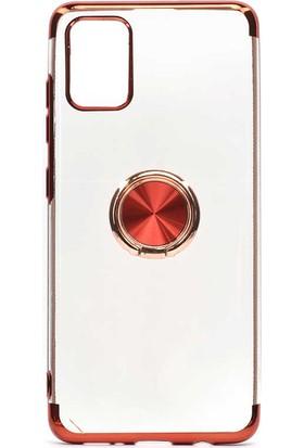 Fujimax Samsung Galaxy A81/Note 10 Lite Gess Yüzüklü Lazer Silikon Kılıf - Kırmızı