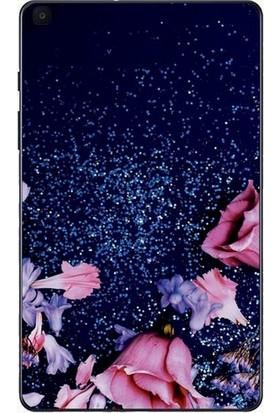 """GoGo Samsung Galaxy Tab A 2019 10.1"""" SM-T510 SM-T517 Parıltılı Pembe Gül Baskılı Silikon Kılıf"""