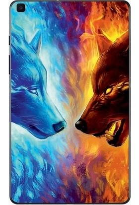 """GoGo Samsung Galaxy Tab A 2019 10.1"""" SM-T510 SM-T517 Ateş ve Su Kurt Baskılı Silikon Kılıf"""