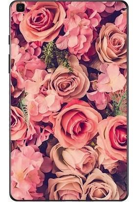 """GoGo Samsung Galaxy Tab A 2019 10.1"""" SM-T510 SM-T517 Pembe Gül ve Çiçekler Baskılı Silikon Kılıf"""