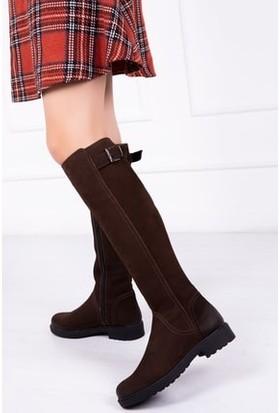 Tarçın Deri Günlük Kahve Nubuk Kadın Topuklu Çizme TRC117-3001