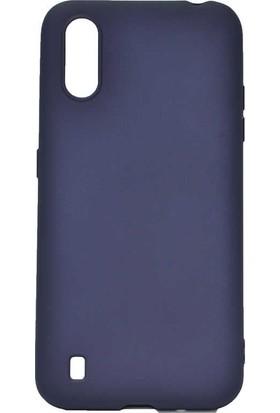 Teleplus Samsung Galaxy A01 Kılıf Lüks Mat Silikon Lacivert + Nano Ekran Koruyucu