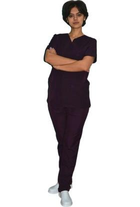 Palmiye Üniforma Mürdüm Rengi Hemşire Veteriner Sağlık Çalışanı Forması