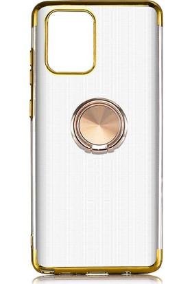 Coverzone Samsung Galaxy Note 10 Lite Kılıf Dört Köşeli Lazer Şeffaf Silikon Thunder Gold + Nano Glass