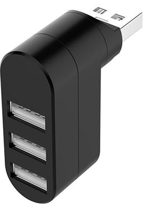 Platoon PL-5707 USB 2.0 Çoklayıcı 3 Port Mini Hub - Siyah