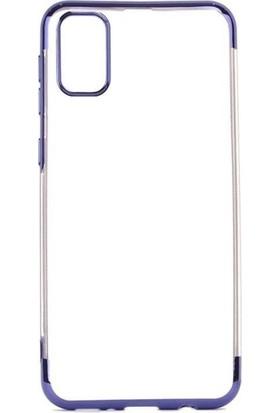 Tekno Grup Samsung Galaxy A91 Kılıf Dört Köşe Renkli Şeffaf Lazer Silikon Mavi + Cam Ekran Koruyucu