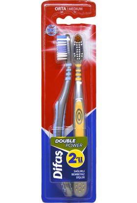 Difaş Orta Sert Double Power Diş Fırçası 2'li
