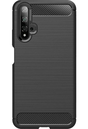 Microcase Huawei Nova 5T Brushed Carbon Fiber Silikon Kılıf - Siyah