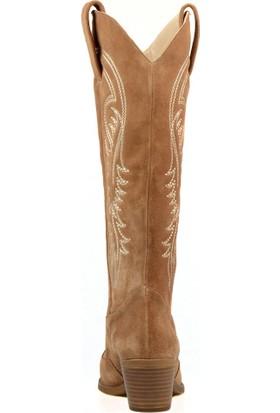 FootCourt Kadın Kovboy Çizme Siyah Deri