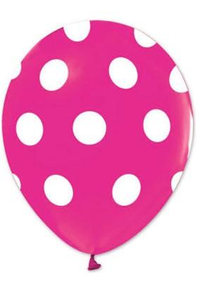 Balonevi Fuşya Beyaz Puantiyeli Balon 12 Inch 50'li