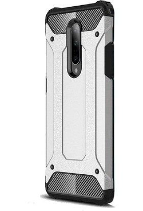 Gpack OnePlus 7 Pro Kılıf Crash Tank Çift Katman Koruyucu Gümüş