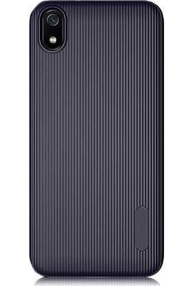 Gpack Xiaomi Redmi 7A Kılıf Çizgili Trio Silikon Lüx Koruma + Nano Glass Lacivert