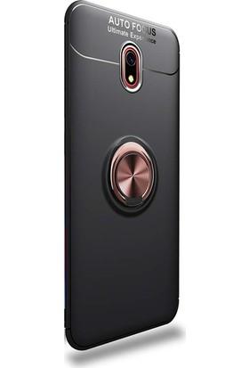 Gpack Xiaomi Redmi 8 Kılıf Ravel Yüzüklü Mıknatıslı Silikon Rose