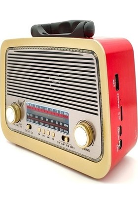 Supen Şarjlı Nostalji Radyo Bluetooth USB Sd Aux Mp3 Müzik Kutusu