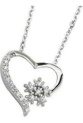 Enes Store 925 Ayar Kar Tanesi Kalpli Kadın Gümüş Kolye