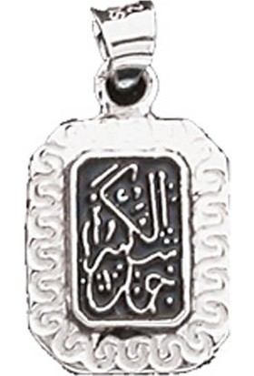 Silverella Gümüş 925 Ayar Dikdörtgen Cevşen Kolye Ucu