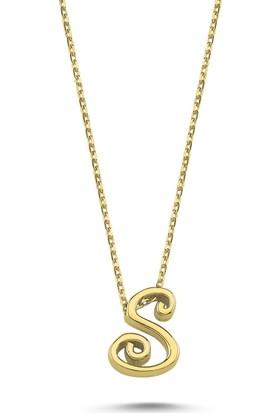 Silverella Gümüş 925 Ayar -S- Harfli Hayalet Kolye
