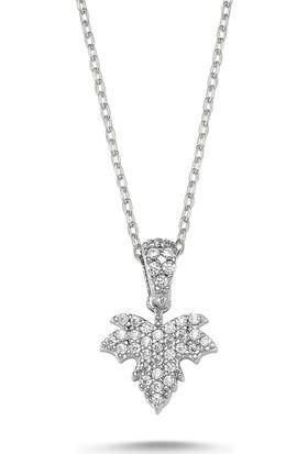 Silverella Gümüş 925 Ayar Zirkon Taşlı Çınar Yaprağı Kolye