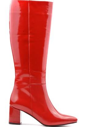 Derinet Kırmızı Sivri Burun Kalın Topuk Kadın Çizme