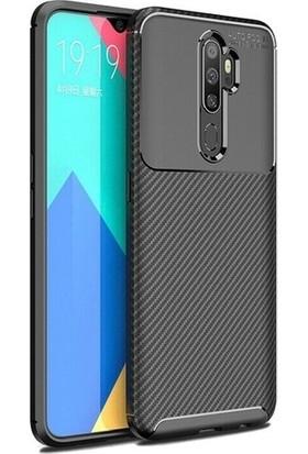 Kuzpa Oppo A9 2020 Kılıf Karbon Desenli Negro Silikon + Nano Cam Koruyucu Siyah
