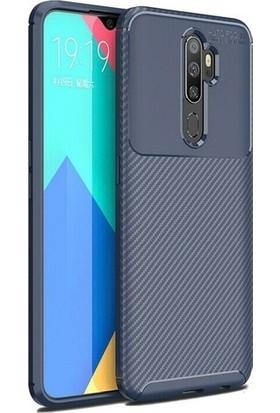 Kuzpa Oppo A9 2020 Kılıf Karbon Desenli Negro Silikon + Nano Cam Koruyucu Lacivert