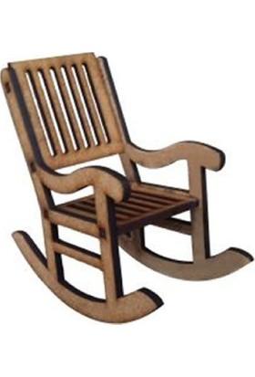 Okutan Hobi 3 Boyutlu Sallanan Sandalye Mini Ahşap Obje 8 x 8 cm